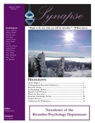 Newsletter of the Kwantlen Psychology Department