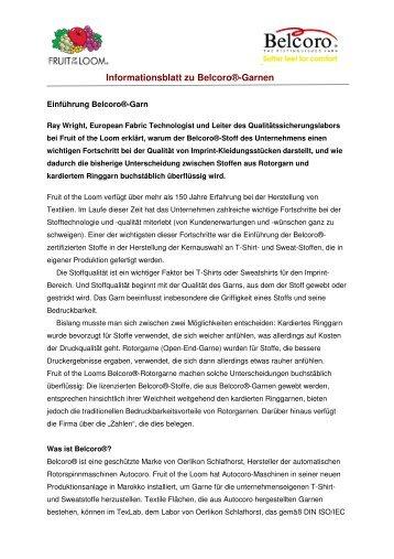 Informationsblatt zu Belcoro®-Garnen - Fruit of the Loom