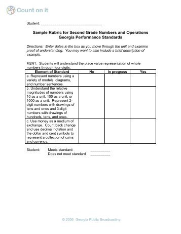 Sample Rubric For Fourth Grade Numbers And Operations Georgia