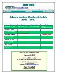 Atlanta Section Meeting Schedule 2006 - 2007 - Atlanta Area Section