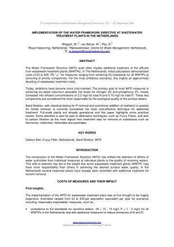 implementation of the water framework directive ... - Royal Haskoning