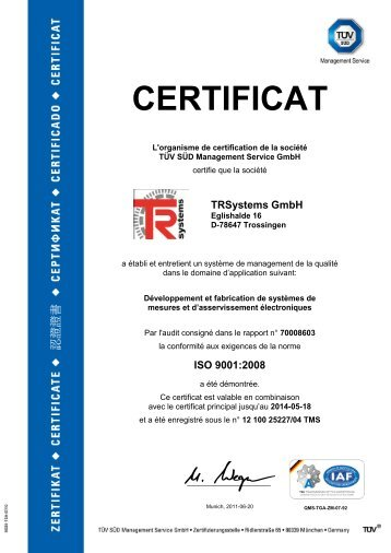 CERTIFICAT - TR-Electronic GmbH