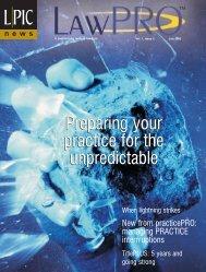 LPIC News/LAWPRO Magazine 1(2), 2002 ... - practicePRO.ca