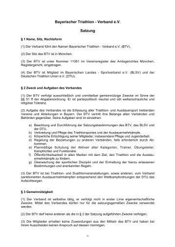 Satzung BTV - Bayerischer Triathlon Verband