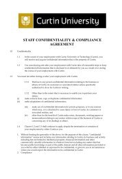 staff confidentiality & compliance agreement - Curtin University