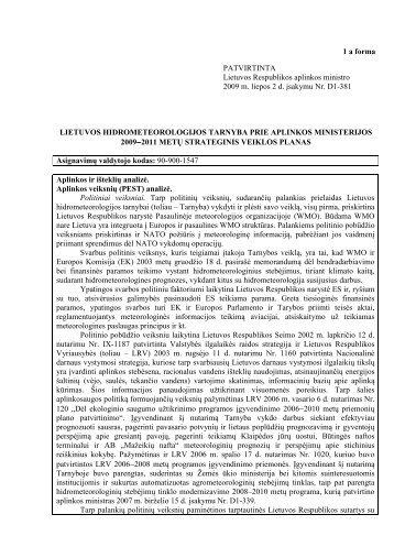 2009-2011 STRATEGINIS AM - Lietuvos hidrometeorologijos tarnyba