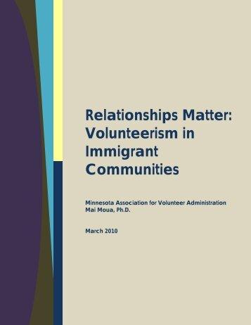 Relationships Matter: Volunteerism in Immigrant Communities