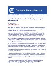 Pope Benedict, influenced by Vatican II, can shape its implementation