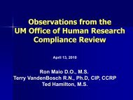 Observations from the UM Office of Human Research Compliance ...