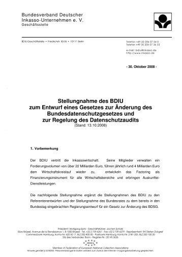 Stellungnahme des BDIU zum Entwurf eines Gesetzes zur ...