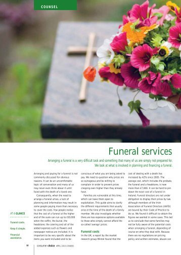 Funeral costs - Consumers' Association of Ireland
