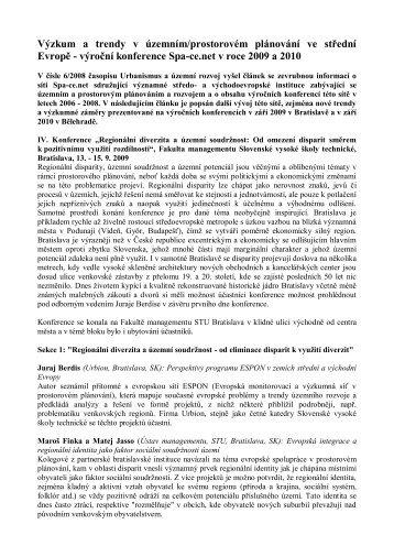 Výzkum a trendy v územním/prostorovém plánování ve střední Evropě.