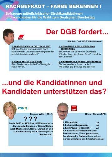 Der DGB fordert... ...und die Kandidatinnen und ... - DGB Mittelfranken