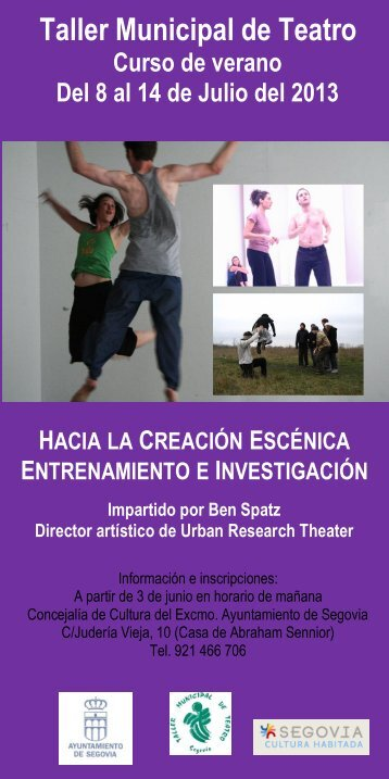Curso de verano 2013, programa - Segovia Cultura Habitada