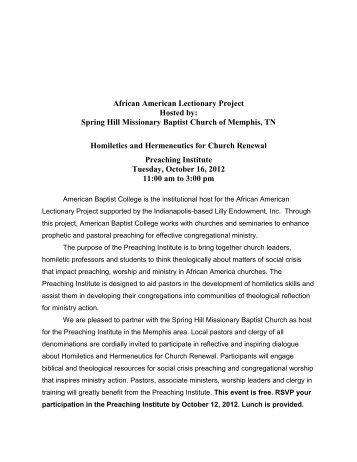 Homiletics and Hermeneutics for Church Renewal - The African ...