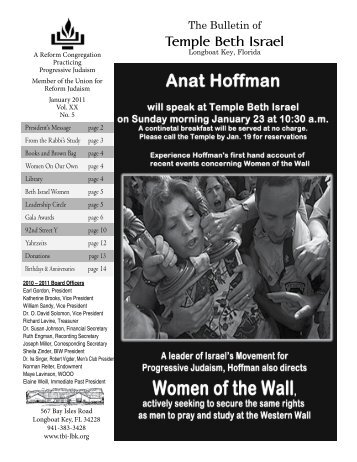 Jan 2011 - Temple Beth Israel