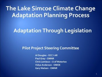 The Lake Simcoe Climate Change Adaptation Planning Process