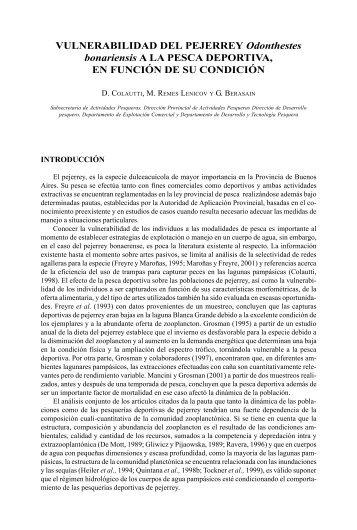 Vulnerabilidad del pejerrey Odonthestes bonariensis a la pesca