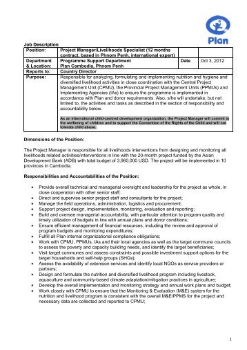 Job Description Position: Project Manager ...   Plan Canada