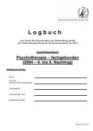 Logbuch Zusatz-WB Psychotherapie - fachgebunden 6.-8. Nachtrag