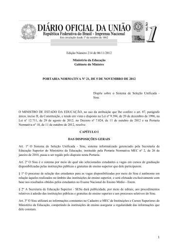 Portaria Normativa MEC nº 21, de 5 de novembro de 2012