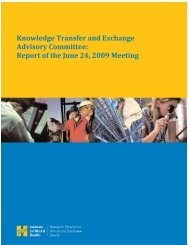 Knowledge Transfer and Exchange Advisory Committee: Report of ...