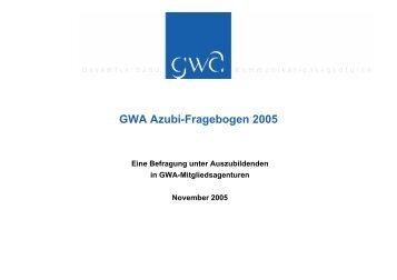 GWA Azubi-Fragebogen 2005 - Kommunikarriere.de