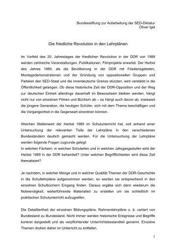 Die friedliche Revolution in den Lehrplänen - Bundesstiftung zur ...