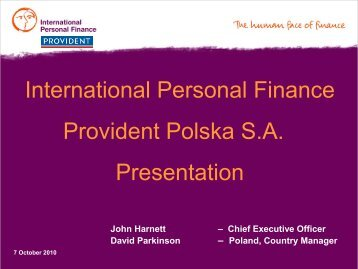 International Personal Finance Provident Polska S.A. ... - wseie
