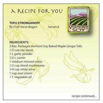 tofu stroganoff - Vermont Soy