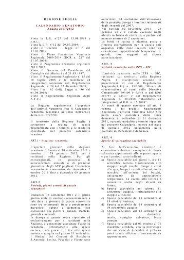 Regione Puglia Calendario Venatorio.Cacciabili Magazines