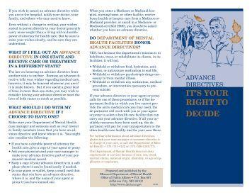 Advance Directives - Missouri Department of Mental Health