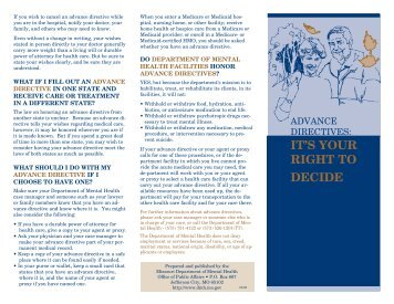 Advance Directives - Missouri Department of Mental Health