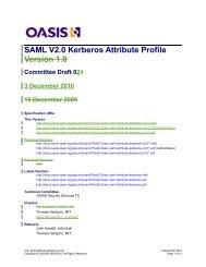 SAML V2.0 Kerberos Attribute Profile Version 1.0 - docs oasis open ...