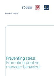 Preventing stress Promoting positive manager behaviour - CIPD