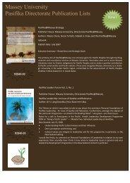 Massey University Pasifika Directorate Publication Lists