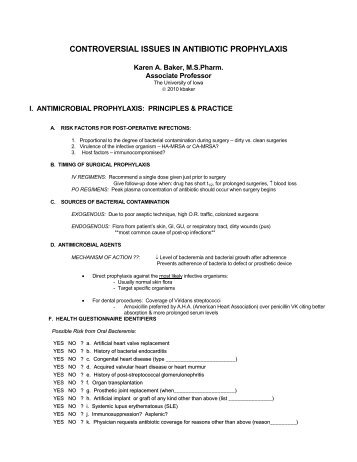 controversial issues in antibiotic prophylaxis - Iowa Dental Association