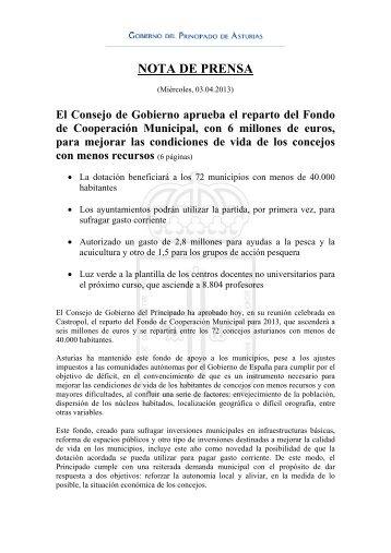 Acuerdos del Consejo de Gobierno (03/04/2013) - Gobierno del ...