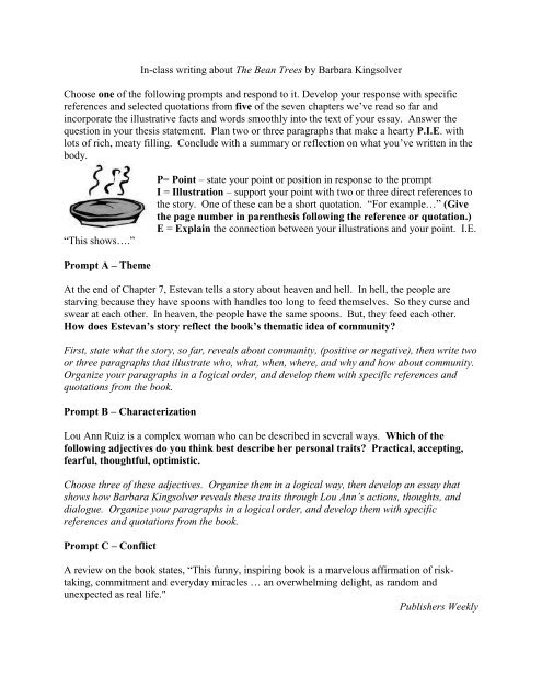 Essay Prompt For Bean Trees  Teachingenglishlanguageartscom  What Is A Thesis Of An Essay also Cheap Cv Writing Service  Writning Services