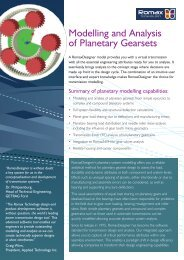 Modelling and Analysis of Planetary Gearsets