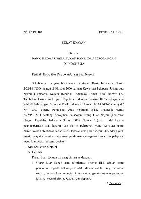 Surat Edaran Bank Indonesia Nomor 1219dint