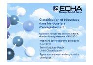 Classification et étiquetage dans les dossiers d ... - Europa