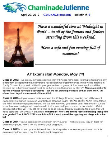Have a wonderful time at 'Midnight in Paris' – to all of the Juniors ...