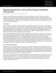 Reducing Application Cost and Risk through Centralized SOA Security