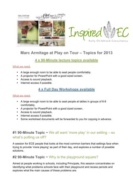 Marc Armitage at Play on Tour – Topics for 2013 - Irresistible