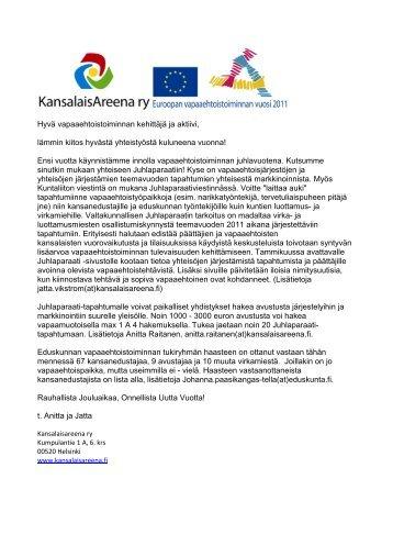 Hyvä vapaaehtoistoiminnan kehittäjä ja aktiivi ... - Kansalaisareena
