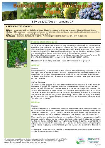 Bulletin de sante du vegetal champagne ardenne filiere vigne - Chambre d agriculture du roussillon ...