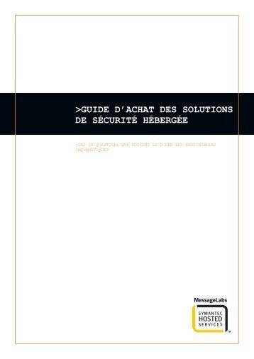 GUIDE D'ACHAT DES SOLUTIONS DE SÉCURITÉ HÉBERGÉE