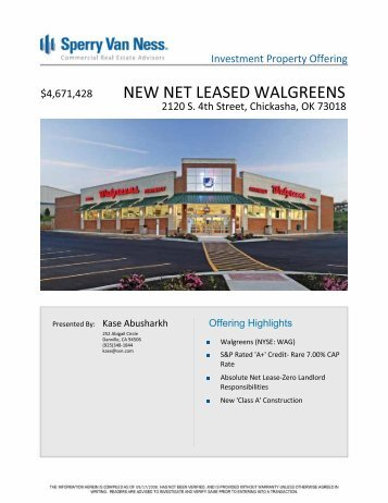NEW NET LEASED WALGREENS - The Kase Group