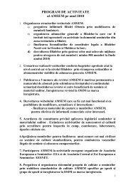 PROGRAM DE ACTIVITATE al AMSEM pe anul 2010